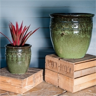 Tuscan Path 31 x 31cm Green Glazed Studded Pot