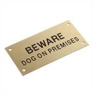 Sandleford 95 x 47mm Brass Beware Dog On Premises Sign