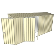 Build-a-Shed 0.8 x 4.5 x 2m Hinged Door Tunnel Shed with Double Hinged Doors - Cream