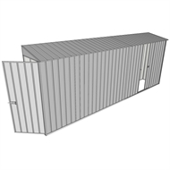 Build-a-Shed 0.8 x 5.2 x 2m Hinged Door Tunnel Shed with Single Sliding Side Door - Zinc