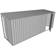 Build-a-Shed 1.5 x 5.2 x 2m Sliding Door Tunnel Shed with Hinged Side Door - Zinc