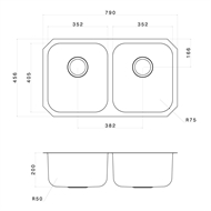 Clark Double Bowl Polar Undermount Sink