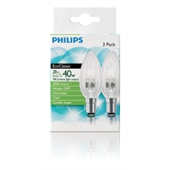 Philips 28w Clear Small Bayonet Clip EcoClassic Candle Globe - 2 Pack