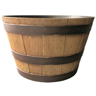 Northcote Pottery 39cm Natural Oak Whiskey Barrel Planter