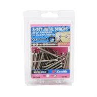 Zenith 8G x 50mm Stainless Steel Countersunk Head Sheet Metal Screws - 50 Pack