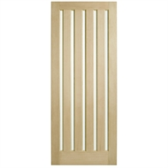 Corinthian Doors 820 x 2040 x 40mm Blonde Oak AWO 5VG Translucent Glass Entrance Door
