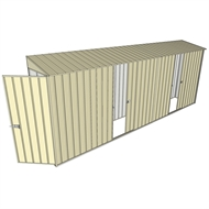 Build-a-Shed 0.8 x 5.2 x 2m Hinged Door Tunnel Shed with Dual Single Sliding Side Doors - Cream