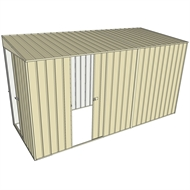 Build-a-Shed 1.5 x 3.7 x 2m Sliding Door Tunnel Shed with Sliding Side Door - Cream