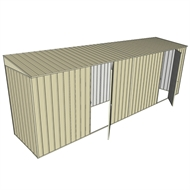 Build-A-Shed 1.2 x 6.0 x 2.0m Zinc Skillion Dual Single Hinged Side Doors Shed - Cream