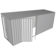 Build-a-Shed 1.5 x 5.2 x 2m Sliding Door Tunnel Shed with Side Doors - Zinc