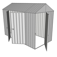 Build-a-Shed 1.5 x 3.0 x 2.3m Front Gable Single Hinged and Double Hinged Door Narrow Shed - Zinc