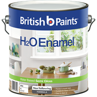 British Paints H2O 4L Semi Gloss White Enamel Paint