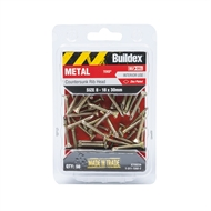 Buildex 8-18 x 30mm Zinc Plated Countersunk Ribbed Head Metal Tek Screws - 50 Pack