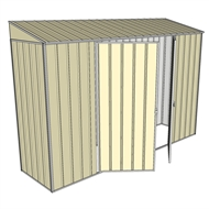 Build-a-Shed 3.0 x 0.8 x 2.0m Double Hinge Door Narrow Shed - Cream