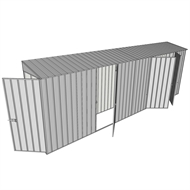 Build-a-Shed 0.8 x 6 x 2m Single Hinged Door Skillion Shed with Single and Double Hinged Side Doors - Zinc