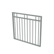 Protector Aluminium 975 x 900mm Double Top Rail 2 Up 2 Down Garden Gate - To Suit Self Closing Hinges - Woodland Grey