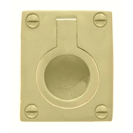 Delf 40 x 33mm Polished Brass Flush Ring Pull