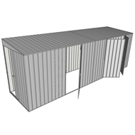 Build-a-Shed 1.5 x 6 x 2m Sliding Door Tunnel Shed with 3 Hinged Side Doors - Zinc