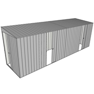 Build-a-Shed 1.5 x 6 x 2m Sliding Door Tunnel Shed with 2 Sliding Side Doors - Zinc