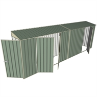 Build-a-Shed 0.8 x 6 x 2m Hinged Door Tunnel Shed with Double and Single Side Doors - Green