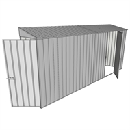 Build-a-Shed 0.8 x 4.5 x 2m Hinged Door Tunnel Shed with Single Hinged Side Door - Zinc