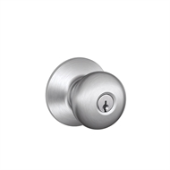 Schlage Satin Chrome F Series Plymouth Entrance Knobset