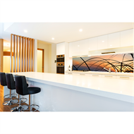 Bellessi 650 x 600 x 6mm Motiv Glass Graphic Splashback - Sunset Strands