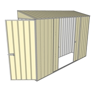 Build-a-Shed 0.8 x 3 x 2m Hinged Door Tunnel Shed with Double Sliding Side Doors - Cream