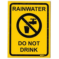 Rain Harvesting 100 x 75mm Yellow/Black Metal Rainwater Do Not Drink Sign