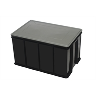 Award 60L Black Multistack Storage Crate With Lid
