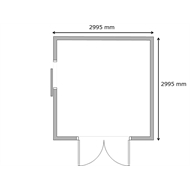 Build-a-Shed 3.0 x 3.0 x 2.3m Double Hinge and Single Sliding Door Shed - Zinc