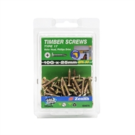 Zenith 10G x 25mm Wafer Head Type 17 Timber Screws - 50 Pack
