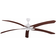 Crestwind 80'' White Blade Windpoint Ceiling Fan - Teak