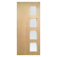Woodcraft Doors 2040 x 820 x 40mm St Clair SD04 Entrance Door With Frosted Safety Glass