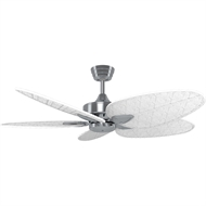 Crestwind 52-Inch Brushed Nickel Bamboo Ceiling Fan - White