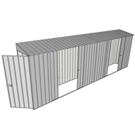 Build-a-Shed 0.8 x 6 x 2m Single Hinged Door Skillion Shed with Dual Double Sliding Side Doors - Zinc