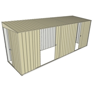 Build-a-Shed 1.5 x 5.2 x 2m Sliding Door Tunnel Shed with 3 Sliding Side Doors - Cream