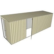 Build-a-Shed 1.5 x 6 x 2m Single Hinged Side Door Skillion Shed - Cream