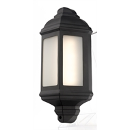 Brilliant 18W Black LED Maldon Half Round Small Coach Wall Light