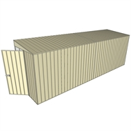 Build-a-Shed 1.5 x 6 x 2m Hinged Door Tunnel Shed without Side Doors - Cream