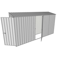 Build-a-Shed 0.8 x 3.7 x 2m Hinged Door Tunnel Shed with Single Hinged Side Door - Zinc