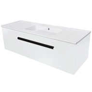 Cibo Design 1200mm White Oslo Wall Hung Vanity with No Tap Hole
