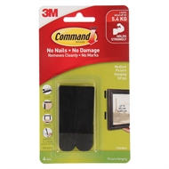 Command 5.4kg Black Medium Picture Hanging Strips - 4 Pack