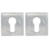 Delf Trade Bright Chrome Euro Square Rose Escutcheon - Pair
