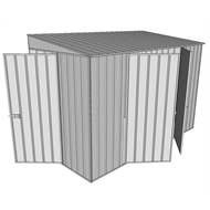 Build-a-Shed 1.5 x 3 x 2m Hinged Door Tunnel Shed with 2 Hinged Side Doors - Zinc