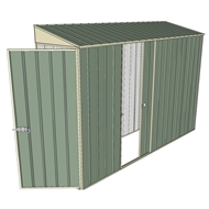 Build-a-Shed 0.8 x 3 x 2m Hinged Door Tunnel Shed with Single Sliding Side Door - Green