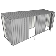 Build-a-Shed 1.5 x 5.2 x 2m Sliding Door Tunnel Shed with 2 Hinged Side Doors - Zinc