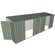 Build-a-Shed 1.5 x 6 x 2m Sliding Door Tunnel Shed with 2 Double Sliding Side Doors - Green