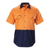 Hard Yakka Koolgear Short Sleeve Shirt - 2XL Orange / Navy