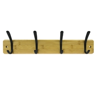 4 Black Hooks Bamboo Board Hat & Coat Rack
